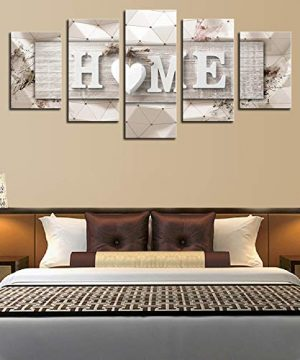 AWLXPHY Decor Home Sweet Home Canvas Wall Art Print Painting 5 Panels Framed For Living Room Decoration Modern Still Life Love Stretched Artwork Giclee Wedding Gift Yellow W60 X H30 0 2 300x360
