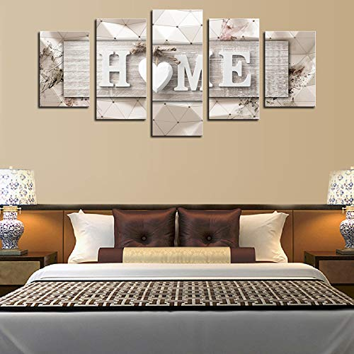 AWLXPHY Decor Home Sweet Home Canvas Wall Art Print Painting 5 Panels Framed For Living Room Decoration Modern Still Life Love Stretched Artwork Giclee Wedding Gift Yellow W60 X H30 0 2