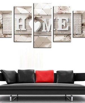 AWLXPHY Decor Home Sweet Home Canvas Wall Art Print Painting 5 Panels Framed For Living Room Decoration Modern Still Life Love Stretched Artwork Giclee Wedding Gift Yellow W60 X H30 0 3 300x360
