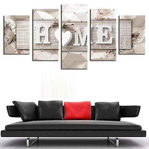 AWLXPHY Decor Home Sweet Home Canvas Wall Art Print Painting 5 Panels Framed For Living Room Decoration Modern Still Life Love Stretched Artwork Giclee Wedding Gift Yellow W60 X H30 0 3