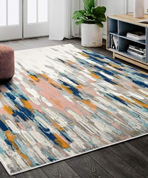 Abani Rugs Orange Blue Contemporary Abstract Area Rug 6 X 9 Modern Style Porto Collection Rectangle Accent Rug 0 300x360