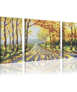 Abstract Forest Canvas Wall Art Yellow Trees Artwork Autumn Landscape Painting Picture For Living Room 24 X 24 X 1 Panel 24 X 12 X 2 Panels 0 300x360