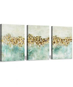 Abstract Teal Canvas Wall Art Golden Harvest Farmhouse Artwork Painting For Office 16x12x3pcs 0 300x360