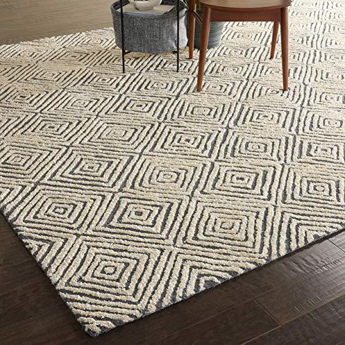 Amazon Brand Rivet Contemporary Diamond Patterned Area Rug 106 X 8 Grey Ivory 0