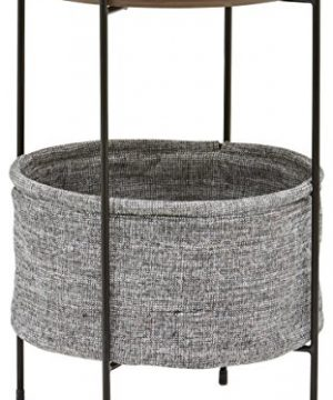 Amazon Brand Rivet Meeks Round Side Table With Fabric Storage Basket 24H Walnut And Grey 0 300x360