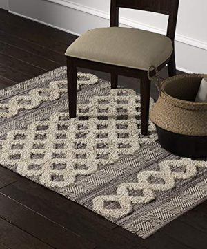 Amazon Brand Stone Beam Modern Textured Subtle Bohemian Area Rug 4 X 6 Foot Grey And White Multicolor 0 300x360