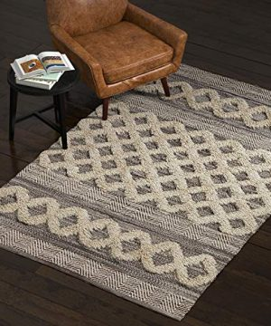 Amazon Brand Stone Beam Modern Textured Subtle Bohemian Area Rug 5 X 8 Foot Grey And White Multicolor 0 300x360