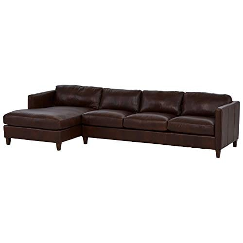 Amazon Brand Stone Beam Andover Left Facing Sofa Chaise Sectional 126W Driftwood Leather 0 1