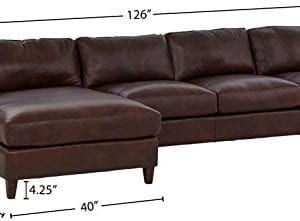 Amazon Brand Stone Beam Andover Left Facing Sofa Chaise Sectional 126W Driftwood Leather 0 2 300x221