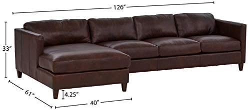 Amazon Brand Stone Beam Andover Left Facing Sofa Chaise Sectional 126W Driftwood Leather 0 2