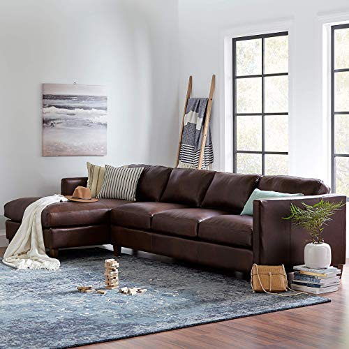 Amazon Brand Stone Beam Andover Left Facing Sofa Chaise Sectional 126W Driftwood Leather 0 3