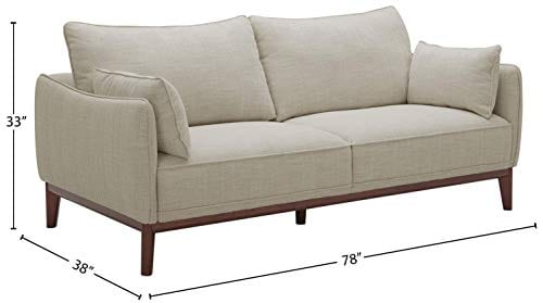 Amazon Brand Stone Beam Hillman Mid Century Sofa With Tapered Legs And Removable Cushions 78W Ivory 0 2