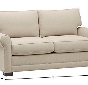 Amazon Brand Stone Beam Kristin Round Arm Performance Fabric Loveseat Sofa Couch 76W Sand 0 2 300x291