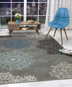 Antep Rugs Alfombras Modern Floral 3x5 Non Skid Non Slip Low Profile Pile Rubber Backing Indoor Area Rugs Gray 3 X 5 0 300x360