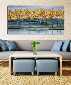 Ardemy Canvas Wall Art Gold Ginkgo Tree Nature Painting Prints Modern Blue Landscape Mountain Scenery Picture Large Size One Panel 48x24 Gallery And Framed For Living Room Bedroom Home Office Decor 0 0 300x360