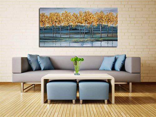Ardemy Canvas Wall Art Gold Ginkgo Tree Nature Painting Prints Modern Blue Landscape Mountain Scenery Picture Large Size One Panel 48x24 Gallery And Framed For Living Room Bedroom Home Office Decor 0 0