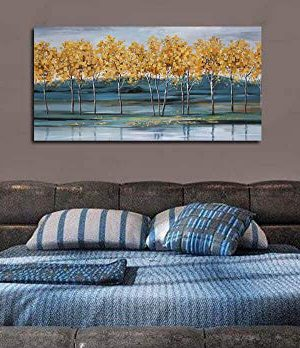 Ardemy Canvas Wall Art Gold Ginkgo Tree Nature Painting Prints Modern Blue Landscape Mountain Scenery Picture Large Size One Panel 48x24 Gallery And Framed For Living Room Bedroom Home Office Decor 0 1 300x348