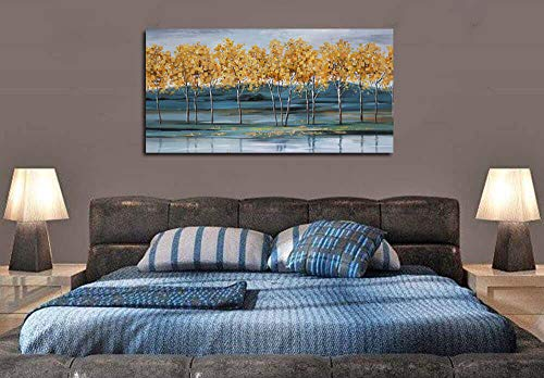 Ardemy Canvas Wall Art Gold Ginkgo Tree Nature Painting Prints Modern Blue Landscape Mountain Scenery Picture Large Size One Panel 48x24 Gallery And Framed For Living Room Bedroom Home Office Decor 0 1