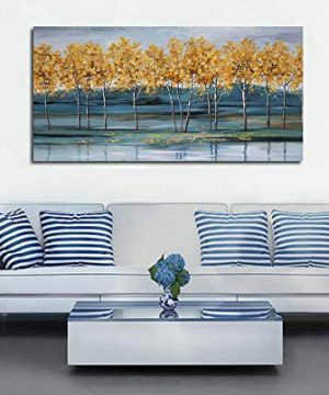 Ardemy Canvas Wall Art Gold Ginkgo Tree Nature Painting Prints Modern Blue Landscape Mountain Scenery Picture Large Size One Panel 48x24 Gallery And Framed For Living Room Bedroom Home Office Decor 0 2 300x360