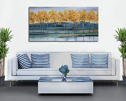 Ardemy Canvas Wall Art Gold Ginkgo Tree Nature Painting Prints Modern Blue Landscape Mountain Scenery Picture Large Size One Panel 48x24 Gallery And Framed For Living Room Bedroom Home Office Decor 0 2