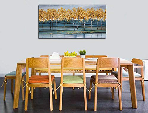 Ardemy Canvas Wall Art Gold Ginkgo Tree Nature Painting Prints Modern Blue Landscape Mountain Scenery Picture Large Size One Panel 48x24 Gallery And Framed For Living Room Bedroom Home Office Decor 0 3