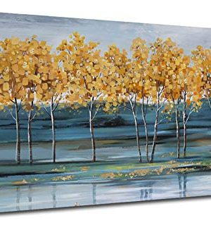 Ardemy Canvas Wall Art Gold Ginkgo Tree Nature Painting Prints Modern Blue Landscape Mountain Scenery Picture Large Size One Panel 48x24 Gallery And Framed For Living Room Bedroom Home Office Decor 0 300x320