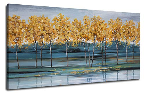 Ardemy Canvas Wall Art Gold Ginkgo Tree Nature Painting Prints Modern Blue Landscape Mountain Scenery Picture Large Size One Panel 48x24 Gallery And Framed For Living Room Bedroom Home Office Decor 0