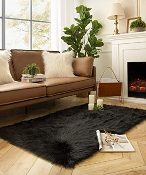 Ashler Soft Faux Sheepskin Fur Chair Couch Cover Area Rug For Bedroom Floor Sofa Living Room Black Rectangle 4 X 6 Feet 0 300x360