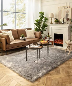 Ashler Soft Faux Sheepskin Fur Chair Couch Cover Area Rug For Bedroom Floor Sofa Living Room Grey Rectangle 6 X 9 Feet 0 300x360