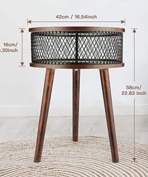 BATHWA Industrial Round End Table Side Table With Metal Storage Basket Vintage Accent Table Wooden Look Furniture With Metal Frame Easy Assembly Brown 0 0 300x360