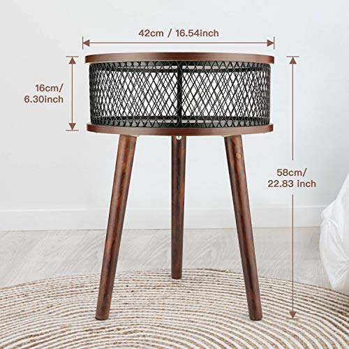 BATHWA Industrial Round End Table Side Table With Metal Storage Basket Vintage Accent Table Wooden Look Furniture With Metal Frame Easy Assembly Brown 0 0