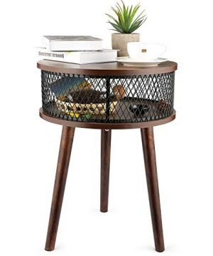 BATHWA Industrial Round End Table Side Table With Metal Storage Basket Vintage Accent Table Wooden Look Furniture With Metal Frame Easy Assembly Brown 0 300x360