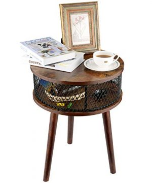 BATHWA Industrial Round End Table Side Table With Metal Storage Basket Vintage Accent Table Wooden Look Furniture With Metal Frame Easy Assembly Brown 0 4 300x360