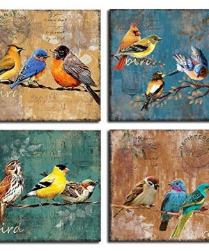 Bird Canvas Wall Art For Bedroom 14x14 4 Pieces Rustic Wall Decor Animal Picture Framed Artwork Vintage Theme Prints Paintings Ready To Hang For Home Bathroom Kitchen Office Decorations 0 300x360