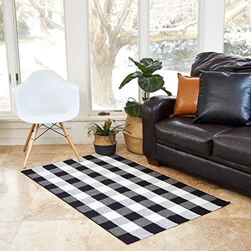 Black And White Checkered Rug 3 X5 Buffalo Plaid Farmhouse Decor Front Porch Door Mat Check Indoor Goals