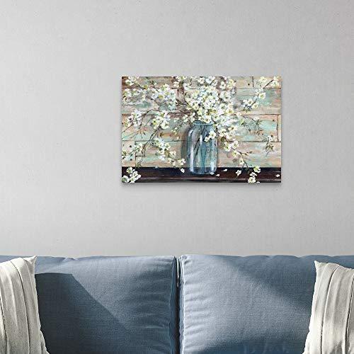 Blossoms In Mason Jar Canvas Wall Art Print 30x20x125 0 0