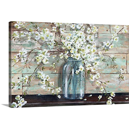 Blossoms In Mason Jar Canvas Wall Art Print 30x20x125 0