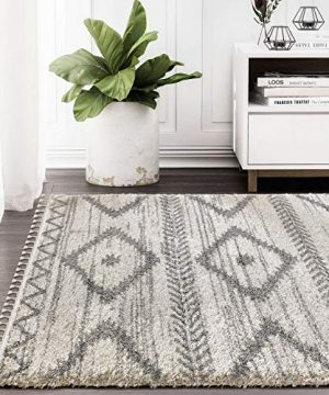 Bohemian Geometric Area Rug Willow Collection Ivory Grey Rectangular 6 X 9 Tribal Style Accent Rug Abani Rugs 0 300x360