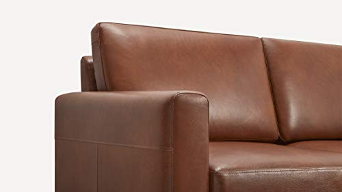 Burrow Nomad 86 Leather Sofa 3 Seat Chestnut Brown 24 H Arms Walnut Legs 100 Italian Leather 0 0