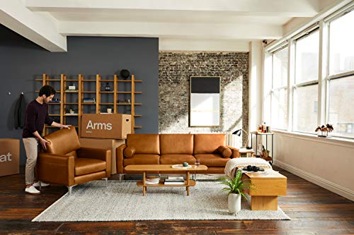Burrow Nomad 86 Leather Sofa 3 Seat Chestnut Brown 24 H Arms Walnut Legs 100 Italian Leather 0 1