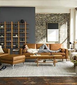 Burrow Nomad 86 Leather Sofa 3 Seat Chestnut Brown 24 H Arms Walnut Legs 100 Italian Leather 0 2 300x333