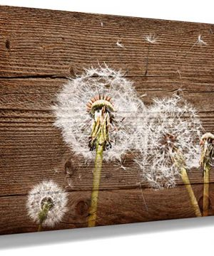 Canvas Art Vintage Picture Dandelion Wall Decal Simple Life Painting Rural Home Decoration Dandelion Picture Nostalgic Brown Wooden Artwork Watercolor Frame Home Decor Bedroom Bathroom Wall Art 0 300x360