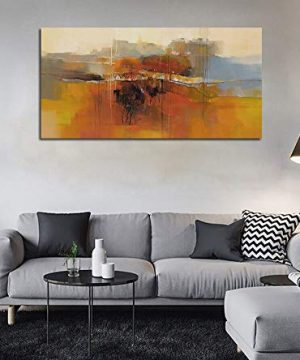 Canvas Wall Art Abstract Rustic Countryside House Along The Road Painting Prints Modern Orange One Panel Large Size Landscape Picture Framed For Living Room Bedroom Home Office Dcor 48x24 0 0 300x360