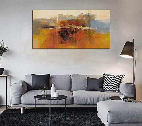Canvas Wall Art Abstract Rustic Countryside House Along The Road Painting Prints Modern Orange One Panel Large Size Landscape Picture Framed For Living Room Bedroom Home Office Dcor 48x24 0 0