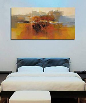 Canvas Wall Art Abstract Rustic Countryside House Along The Road Painting Prints Modern Orange One Panel Large Size Landscape Picture Framed For Living Room Bedroom Home Office Dcor 48x24 0 1 300x360