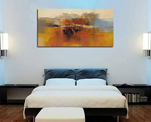 Canvas Wall Art Abstract Rustic Countryside House Along The Road Painting Prints Modern Orange One Panel Large Size Landscape Picture Framed For Living Room Bedroom Home Office Dcor 48x24 0 1