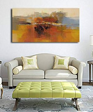 Canvas Wall Art Abstract Rustic Countryside House Along The Road Painting Prints Modern Orange One Panel Large Size Landscape Picture Framed For Living Room Bedroom Home Office Dcor 48x24 0 2 300x360