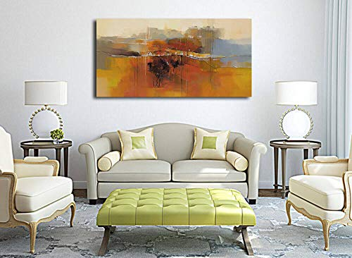 Canvas Wall Art Abstract Rustic Countryside House Along The Road Painting Prints Modern Orange One Panel Large Size Landscape Picture Framed For Living Room Bedroom Home Office Dcor 48x24 0 2