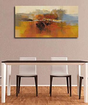 Canvas Wall Art Abstract Rustic Countryside House Along The Road Painting Prints Modern Orange One Panel Large Size Landscape Picture Framed For Living Room Bedroom Home Office Dcor 48x24 0 3 300x360