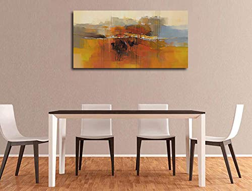 Canvas Wall Art Abstract Rustic Countryside House Along The Road Painting Prints Modern Orange One Panel Large Size Landscape Picture Framed For Living Room Bedroom Home Office Dcor 48x24 0 3